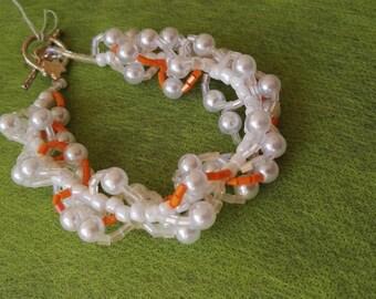 Hand made beadwork bracelet  white and orange beads