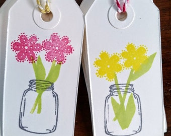 Hand Stamped Gift Tags- Mason Jar Arrangement of Flowers, set of 12