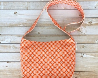Orange Diamond Print Small Crossbody Bag, Crossbody Purse, Sling Bag, Boho Style Bag