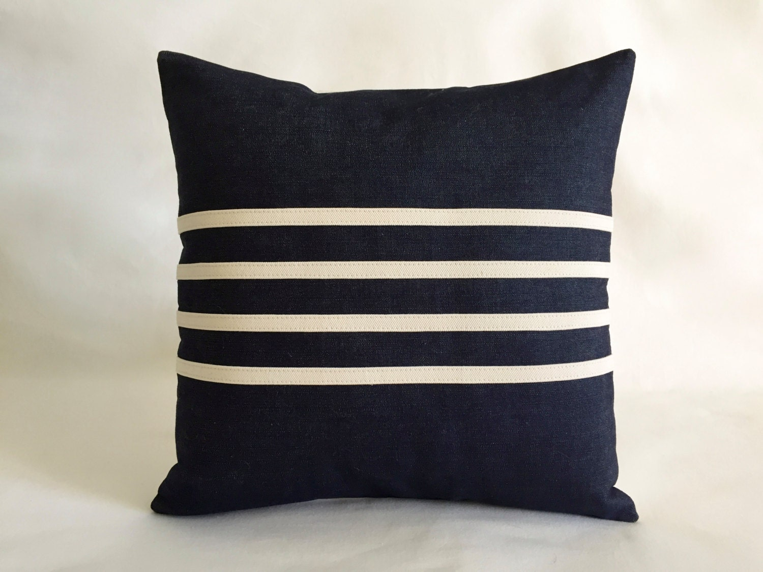 Indoor Outdoor Modern Navy Blue Nautical Striped Pillows