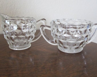Vintage clear glass creamer & sugar-free shipping USA