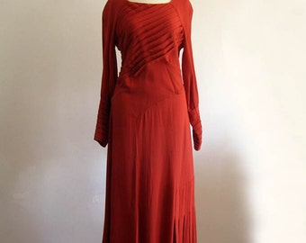 1930s Dress / 30s 40s Crepe Day Dress / Dynamic Pleats / SM