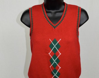 Vintage Argyle Sweater Vest by Strasburg / Womens Small/Medium / 100% Cotton