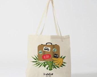 X247Y Tote bag Aloha, bag canvas, cotton bag, diaper bag, bag in hand, tote bag, shopping bag, shopping bag, bag tropical
