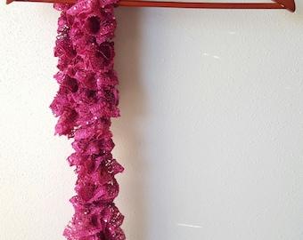Hand knit ruffles scarf