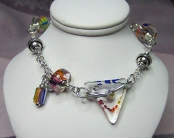 David Christensen handblown glass rainbow color bracelet