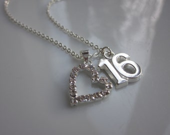 16th birthday gift, sweet 16th present, 16 necklace, sweet sixteen jewellery, 16th birthday gift UK