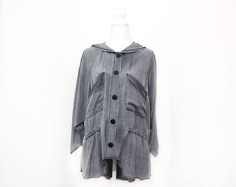 Slouchy Grey Hooded Washed Silk Jacket