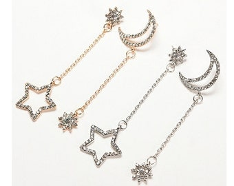 Star & Moon Boho Drop Earrings