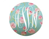 Rose Pattern Monogram Vinyl Decal - You Choose the Size!