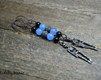 Boho Skeleton Earrings, Gemstone Earrings, Rustic Jewelry, Gypsy, Gothic,Blue Black Jewelry, Sterling Silver, Skeleton Jewelry, Handmade