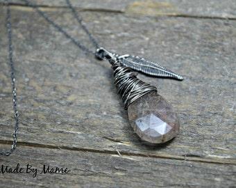 Rustic Gemstone Pendant Necklace, Sterling Silver, Rutilated Quartz, Feather, Boho, Gypsy, Bohemian Jewelry, Handmade, Dark, Gothic, Artisan