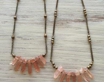 Long tangerine quartz point necklaces / tangerine quartz necklace / tangerine quartz point necklace / bohemian statement necklace