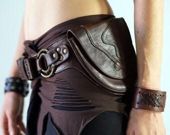 RINGS - Handmade Leather Utility Belt With Pockets Renaissance Hip Pouch Belt Festival Burning Man Belt Steampunk Belt-  BROWN