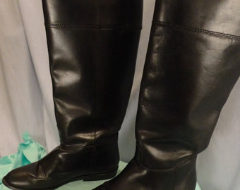 VINTAGE Women's Black Leather Equestrian Boots Size 6M