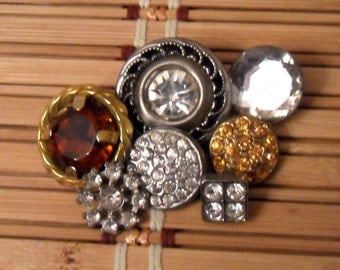 Vintage Rhinestone Button Lot...Amber and Clear