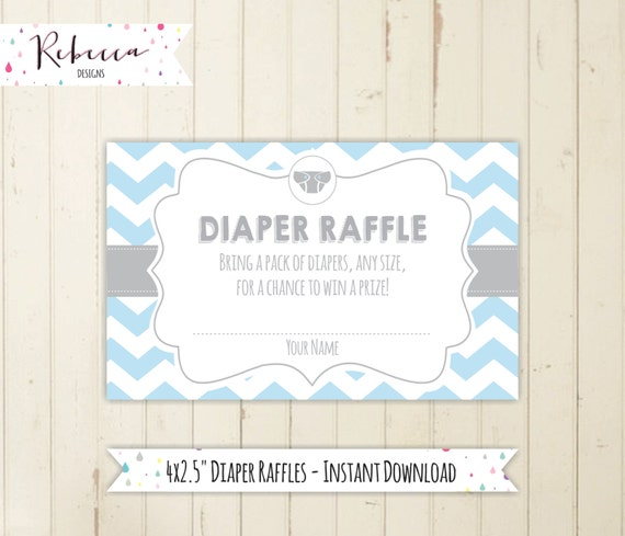 Diaper Raffle Boy Baby Shower Card Printable Grey Diaper Raffle