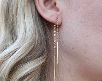 Gold Filled Hanging Chain Earrings