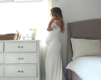 Maternity dress long fitted maternity gown gender reveal