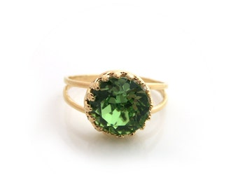 Peridot Swarovski Ring, Green Swarovski Ring, Gold ring, Green Crystal Ring, Bridal Ring, Bridesmaid Jewellery, Bridesmaid Gift