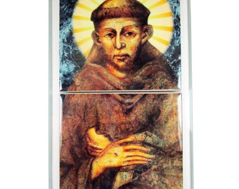 St Francis of Assisi - glass and ceramic catholic icon - St Francis gift - Saint Francis of Assisi catholic saints serie