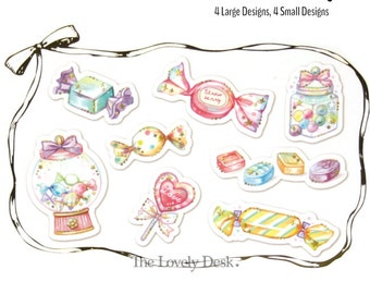Sweet Shop Flake Stickers [Tracing Paper Material] - Japanese Q-Lia Sticker Pack - candy store dessert snacks (semi-transparent w/ foil)
