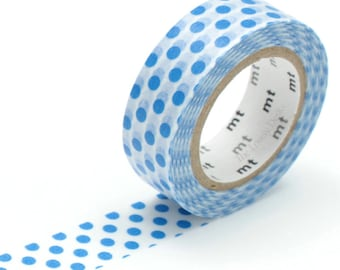 MT Blue Polka Dots Washi Tape - Japanese Masking Tape - Medium Deep Blue Dotty Dot Polkadot Pattern