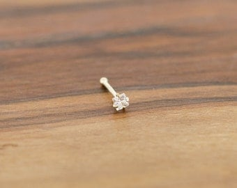 14KT Gold 2mm Princess Cut CZ Nose Ring