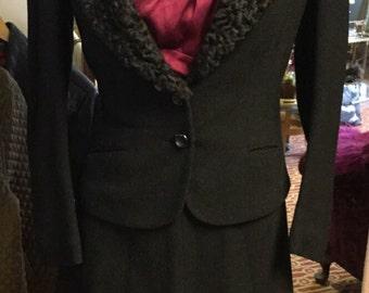 Gorgeous 60s Vintage Skirt Suit with Faux Fur