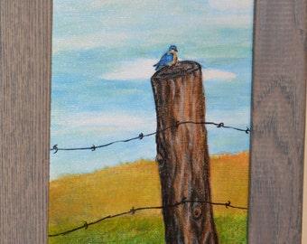 "Original Painting, 5""x7"" Framed Art, Birds, Virginia, Farm, Birdhouse, Bluebird on a Cedar Fencepost, Wall Art"