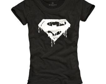 Womens Top Batman Shirt Superman T-Shirt black  S/M/L