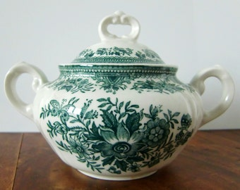 VILLEROY & BOCH 'Fasan' Green and White Porcelain Sugar Bowl with a Lid // German Transferware