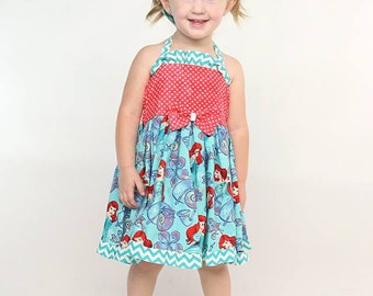 The Little Mermaid inspired twirl dress, Ariel dress, Mermaid Dress