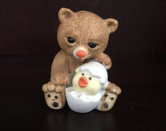 Ceramic Bear with Hatching Duck,  Brown Bear w Hatching Chick, Porcelain Bear with Hatching Egg, Bear Figurine, Easter Bear, Easter Figurine