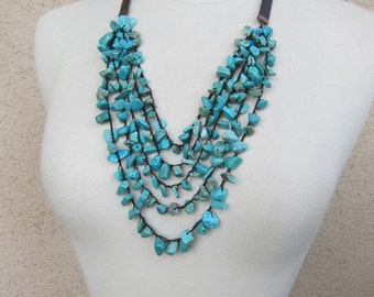 Turquoise necklace Crocheted necklace Knotted necklace Bohemian necklace Tribal jewellery Housewarming gifts Mothers day gifts for women