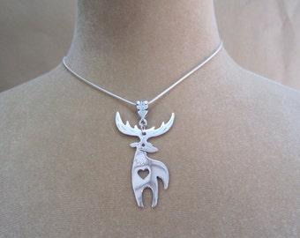 Stag silver necklace,  deer silver necklace, stag necklace, handmade silver necklace,  stag with heart necklace, valentine's  gift