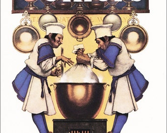 Christmas vintage fine art print by Maxfield Parrish 'The Plum Pudding Makers' for Collier's Magazine 1936 8.5x11.5 inches