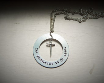 Its dangerous to go alone, hand stamped necklace
