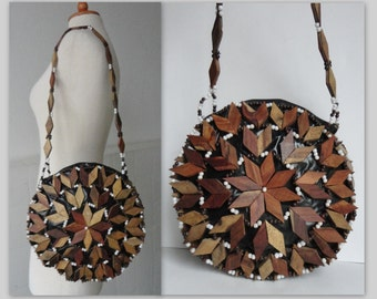 Unique 70s Wood Shoulderbag // Brown With Pearls // Plastic And Fabric Lined