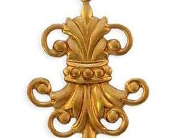 Fleur de Lis Connector Raw Brass Stampings (2) DAPPED One Loop ~AMERICAN Made~ELEGANT