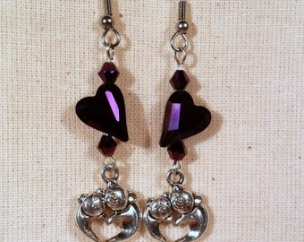 Loving Pigs Purple Heart Earrings, Valentine's Day gift for her, hypo allergenic earrings, sparkle hearts faceted crystal