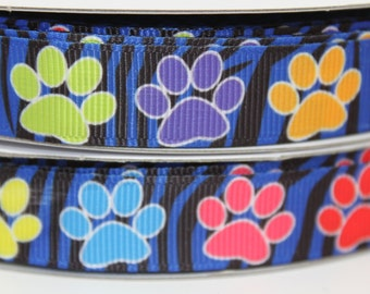 5/8 Paw Print Ribbon Grosgrain Ribbon by the Yard for Hairbows, Scrapbooking, and More!!