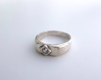 Art Deco Silver Ring, Brilliant Solitaire, High Grade Silver, Promise Ring, Engagement Ring, Love Token, I love You, Art Deco Style, Vintage