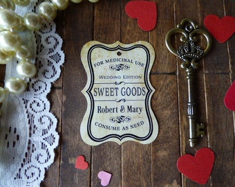 Vintage Candy Buffet Tags, Wedding Favor Tags, Shower Tags, Favor Tags, Bottle Favor Tags. Bachelorette Favor Tags. Set of 25 to 300 pieces,