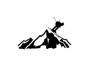 Skier Racing Down the Mountain - Ski Slopes - Di Cut Decal - Car/Truck/Computer/Laptop/Phone/Home Decal