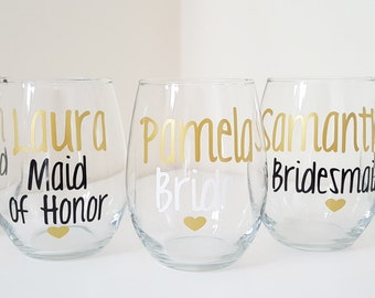3 Bridal party wine glasses, Personalized Bridesmaid Glasses, Bachelorette Party Glasses