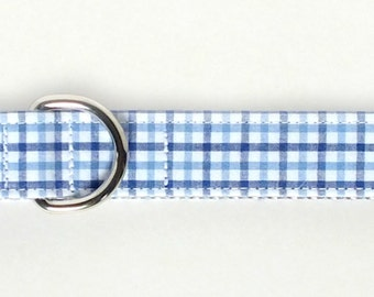 Preppy Blue Plaid Dog Collar, preppy, metal hardware