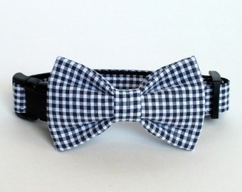 Navy Mini Gingham Dog collar BOW TIE ONLY, bow tie for dog/cat collars, pet bow tie, collar bow tie, wedding bow tie