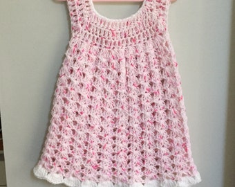 Hand crocheted baby dress available in sizes newborn to 12 months