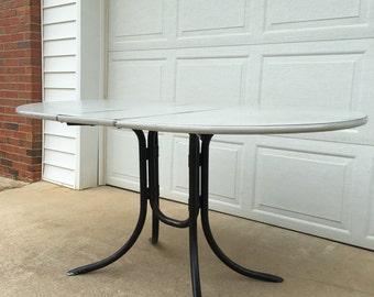 Vintage Mid Century Formica Top Drop Leaf Table Oval Retro